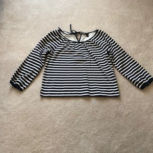 J crew navy and cream striped top